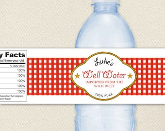 Country Western Party - 100% waterproof personalized water bottle labels