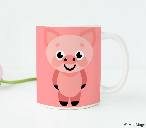 Pig Gifts Pig Kitchen Decor Pink Pig Mug Pig Cup Pig Art Pig
