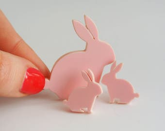 Bunny Rabbit Brooch - Easter Pin - Pastel Pink Bunnies