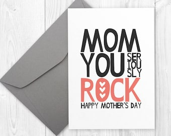 Mothers Day printable card for mom - Mom You Rock - printable funny card for mom, funny mum card