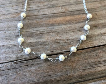 Wire Wrapped Freshwater Pearl Necklace, Sterling Silver necklace, Pearl Necklace, Gift for Mom, Christmas Gift, Gift for Her, Gift for Wife