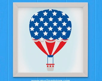 Clipart - 4th of July / Independence Day / Hot Air Balloon - (Single Clipart Image) Digital Clip Art (Instant Download)