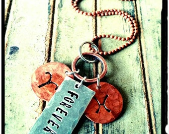 Forever • Copper Zodiac Symbols//Hand Stamped Couples 'Forever' Necklace - Customize Phrase - Mixed Silver & Copper Friend/Couples Gift