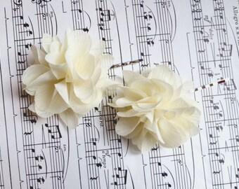 Romantic Chiffon Wedding Hair Flowers Bridal hair piece Ivory flower hair pins includes 2 hair pins- CLIPS