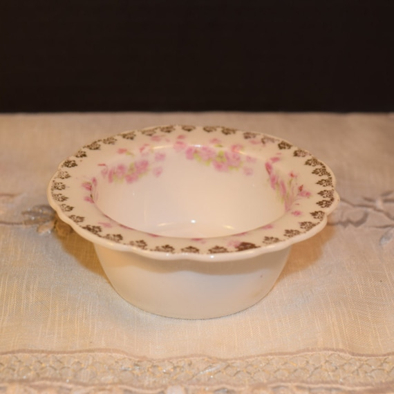 German Shabby Chic Dish Vintage Pink Roses Gold Accents Votive Holder Wedding Decor Gifts for Her Mothers Day Gift Valentines Day Gift