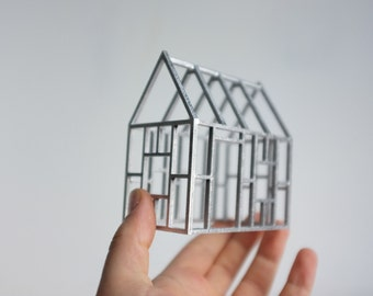 Metallic birch wood framework - silver geometric architecture - small structures - 3D line drawing