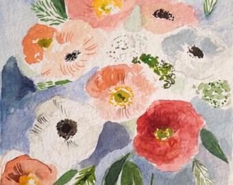 SALE - Original Floral Painting - Portland Art - Poppy Illustration - Watercolor Art - Poppy Art - Floral Art