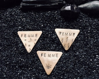 FEMME customizable triangle pin • brass • handmade • choose from 12 styles