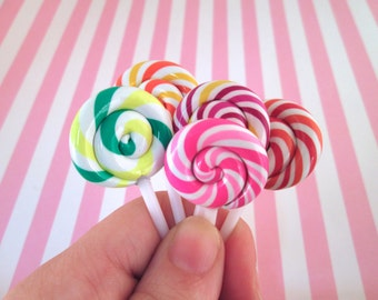 3 Polymer Clay Lollipop Cabochons Fake Candy, #209