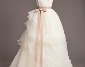 "Soft Taupe Wedding Sash - 1.5"" - Romantic Luxe Grosgrain Ribbon Sash - Wedding Belt, Bridal Sash, Bridal Belt - Wedding Dress Sash"