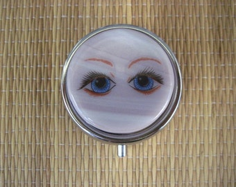 Blue Eyes Fused Glass Metal Pill Box Case Holder
