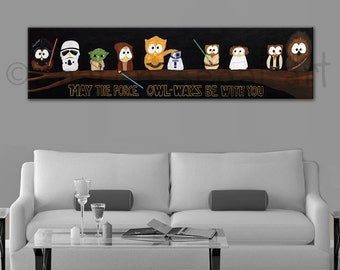 Star Wars print, May the Force Owl-ways Be With You, gallery wrapped canvas, Office decor, Kids decor, Owl painting, Humorous print