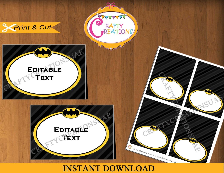 Batman Food Tent Cards Labels Super Heroes