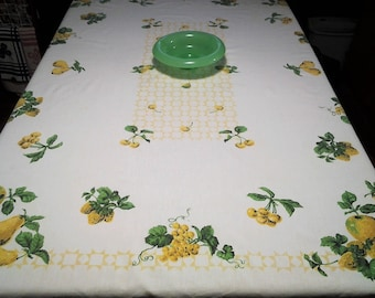 Vintage Tablecloth, Fruit design, Cherries, Grapes, Pears,  Beautiful Green and Yellow, Retro, Mid Century, FREE Shipping!