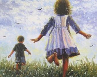 Children Summer Art Print, children running, kids wall art, spring frolic, barefoot kids, boy, girl, brother, sister, Vickie Wade