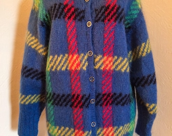 Vintage 1970 Handknit Blue Cardigan, One Size, Made in New Zealand