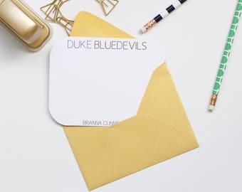 Personalized Stationery, Duke Stationery, Duke Bluedevils, Collegiate Stationery, College Stationery, Custom Stationery, Flat Notecards