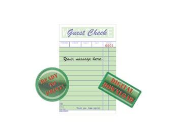 Personalized Diner Guest Check Printable Your Message Retro Diner Ephemera Birth Announcement, Invitation, Thank You, Retirement, Graduation