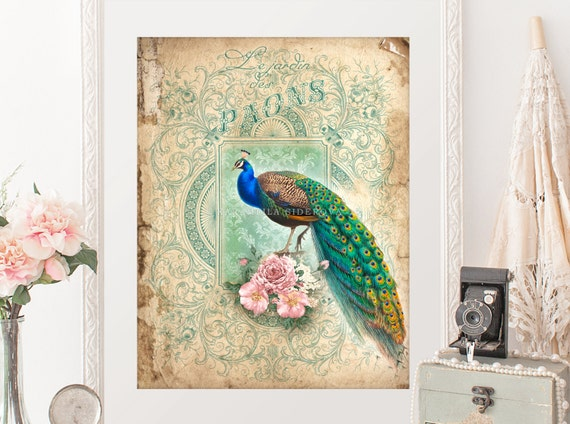 Peacock Decor Whimsical Print Parchment Background Illustration Bird Vintage Ephemera Art Nouveau Deco Poster From KaramfilaS On