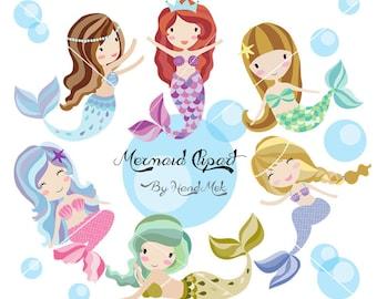 Cute Mermaid Clipart, Mermaid clipart PNG file-300 dpi.