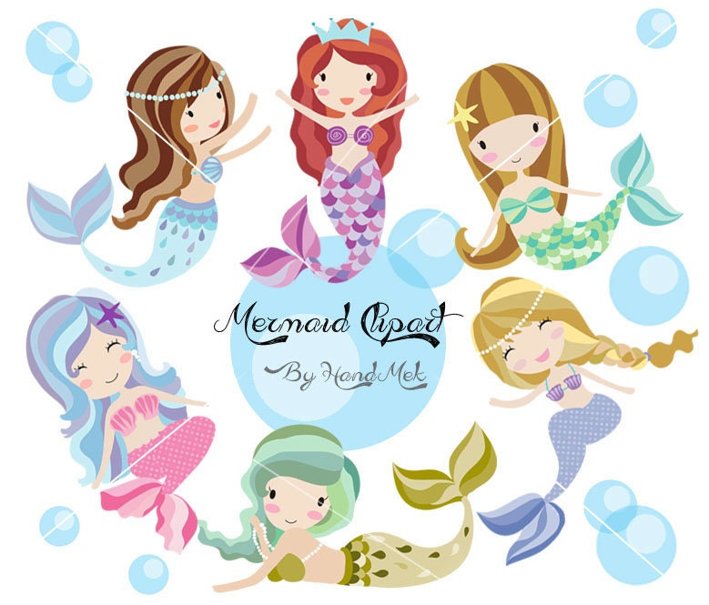 Cute Mermaid Clipart Mermaid clipart PNG file 300 dpi