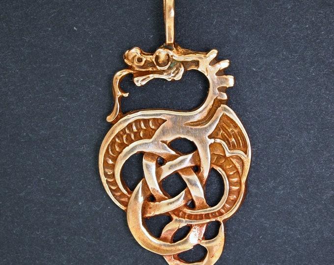 Celtic Dragon Pendant in Antique Bronze