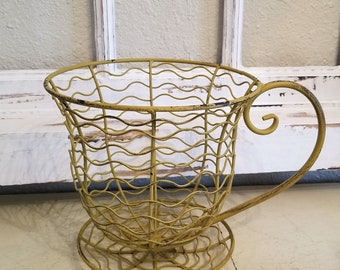 Large Wire Metal teacup saucer Fruit Basket bowl FARMHOUSE decor' shabby coffee cup
