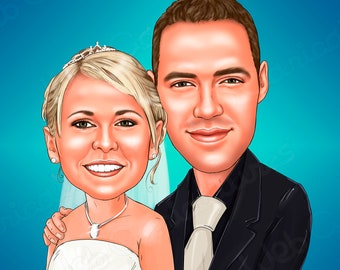 Custom Couple Wedding Cartoon Portrait, Wedding Couple Illustration, Unique wedding gift