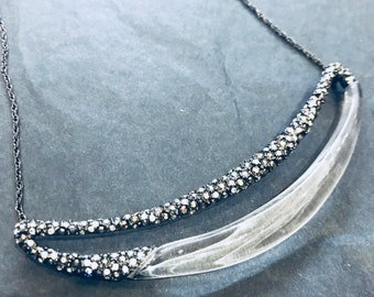 Alexis Bittar, modernist  perspex and rhinestones necklace