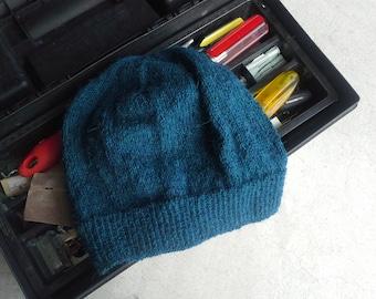 Men's Alpaca Wool Beanie Indigo Green Blue Light Thin Hand Knit Winter Hiking Skiing Snowboarding Gent's Hat (One Size - Made to Order)
