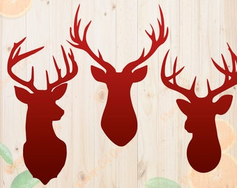 Deer head Svg, Deer silhouette cutfiles, Deer horns Svg, Dxf, Eps, Png. Deer silhouettes for Cricut, Silhouette cameo, Deer Clipart