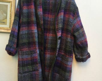 HANDMADE   Made in Italy   90s Vintage   Wool Coat   Wool Blazer   Handmade Coat   Vintage Coat Wool Coat   Plaid Coat   Oversized coat