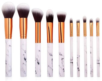 10 Pieces Marble Makeup Brush Set with Marble Box -  Make Up brushes - Gifts for Her, Girls, Women, Mother, Bridesmaid