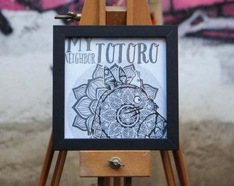 Framed print - Totoro Mandala - size 14 x 14 cm