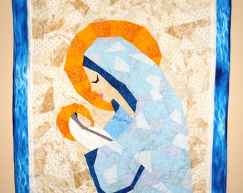 "Custom Mary and Jesus Quilt or Wall Hanging Made to Order 24"" Wide by 36"" Long Designed by Jen Frost Using Paper Piecing Method"