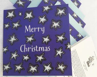 A Pack of 5 Christmas Cards with Envelopes, Stars, Blue, Merry Christmas, Blank Inside Greeting Cards