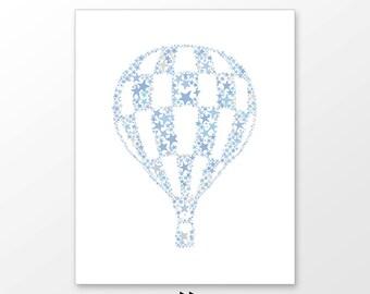 Blue hot air balloon art printable, kids room decor, traveler, explorer nursery wall art, digital image x61 502 p92