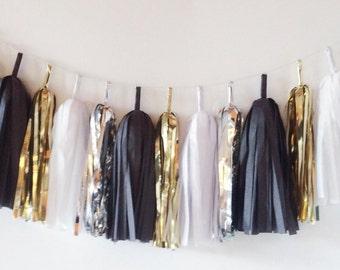 Black & Gold Tassel Garland