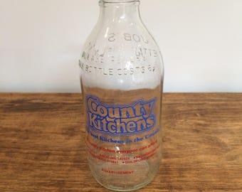 Vintage '80's milk bottle County Kitchens