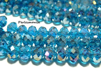 10 blue grey faceted Crystal rondelles 6 by 8mm 2J1606
