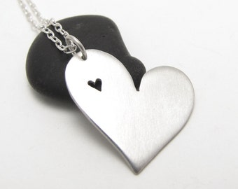 Heart in Heart sterling silver heart pendant - made to order
