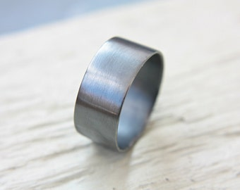 Oxidized Wide Band Silver Large Dark Wedding 10mm Ring Sterling Handcrafted Silversmith Metalsmithed