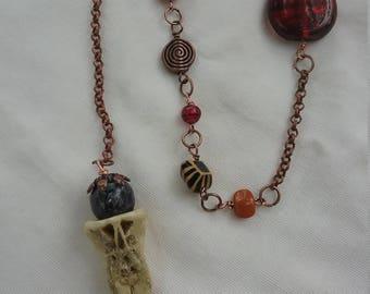 Bone pendulum, fire element, divination, handmade