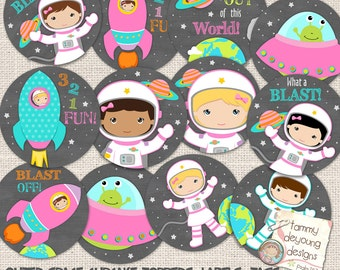 Outer Space Tags for Girls, Cosmic Cupcake Toppers, 2.5 inch circle labels Girl Astronaut Birthday Party Favors, Printable space stickers