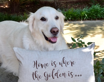 Home is Where the Goldens are Throw Pillow - Custom Accent Pillow - Best Custom Puppy Dog Gifts by Three Spoiled Dogs