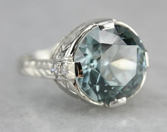 Art Deco Blue Zircon Ring, Zircon Statement Ring, Zircon and Diamond Ring, Anniversary Ring 11WH2ZZT-N