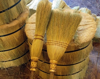 The Kitchen Broom & Witch's Besom Set in Natural Broomcorn - For the Kitchen Witch - Hedge Witch