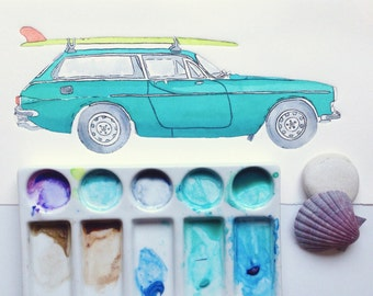 Retro Car art - Turquoise Volvo P1800 and malibu surfboard - Surf car - drypoint etching & watercolour, Australia