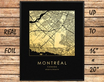 "Montréal City 16""x20"" Map Gold Print, Real Gold Foil Print, Montréal Square Map, Montréal City Print, Montréal Gift, Canada, GoldenGraphy"