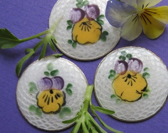 Vintage Hand Painted Johnny- Jump- Up Enameled Disk